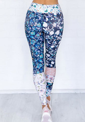 2018 Multicolor Floral Print Elastic Waist Casual Long Leggings