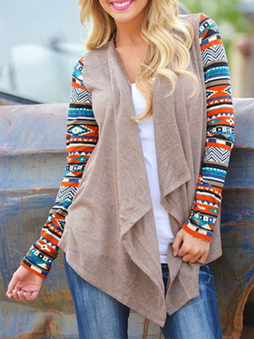 New Cotton-blend Paneled Geometric Long Sleeve Cardigan