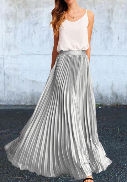 2018 Silver Pleated Bodycon High Waisted Homecoming Party Elegant Skirt