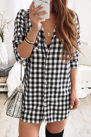 Loverchic Casual Plaid Grids Printed Mini Dress