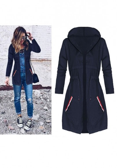 Dark Blue Plain Drawstring Pockets Hooded Casual Coat