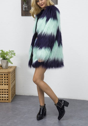 Blue-Green Color Block Print V-neck Fashion Coat