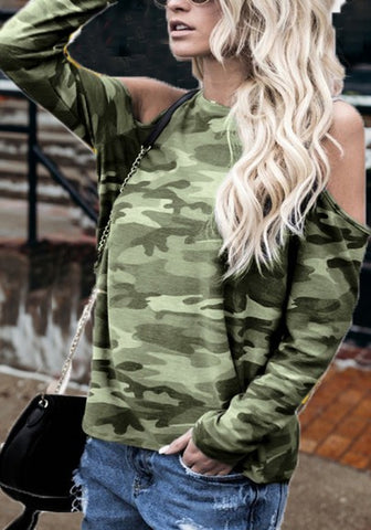 2018 Army Green Camo Print Cut Out Sleeve Casual T-Shirt