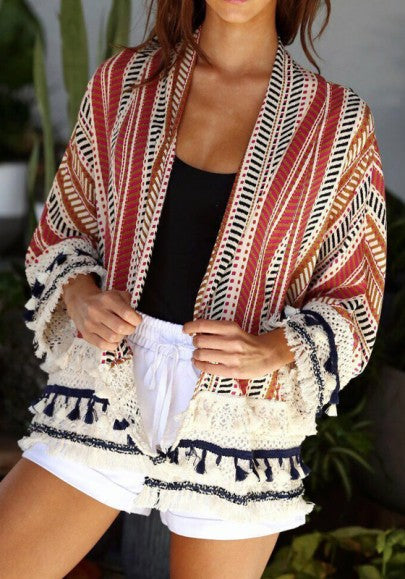 New Women Red Striped Print Tassel Long Sleeve Casual Cotton Coat