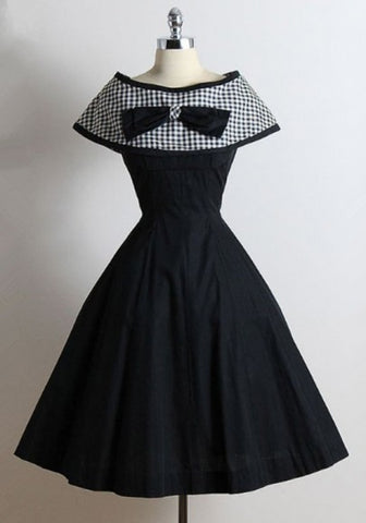 New Women Black Patchwork Plaid Bow Pleated Boat Neck Vintage A Type Midi Dress