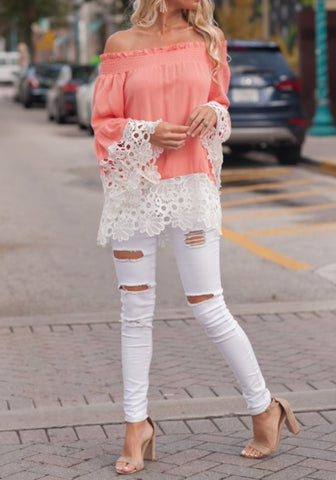 2018 Pink Lace Cut Out Off Shoulder Sweet Going out Chiffon Blouse