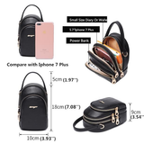 Women Casual PU Leather 3 Pocket Phone Bag Crossbody Bag
