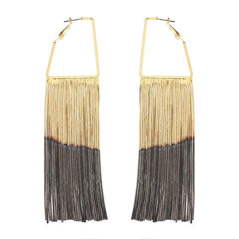 Luxury Statement Piercing Earrings Gold Black Layered Plating Tassel Jewelry for Women