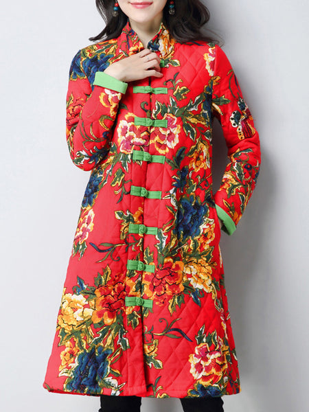 Chinese Style Flower Printed Stand Collar Vintage Women Coat