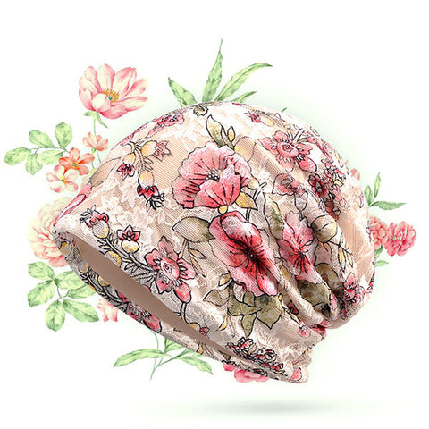 Lace Jacquard Breathable Head Hat Casual Light Comfortable Colorful Flowers Cap For Women