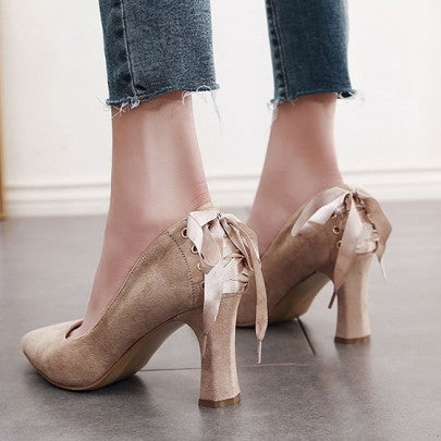 2018 Apricot Point Toe Chunky Drawstring Fashion High-Heeled Shoes