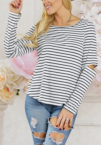 2018 White-Black Striped Print Cut Out Sleeve Casual Going out T-Shirt