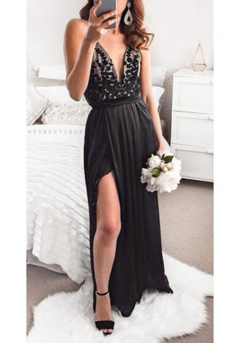 2018 Black Draped Sashes Side Slit Lace-up Deep V-neck Elegant Party Maxi Dress