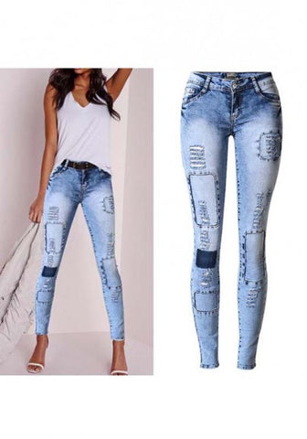 2018 Blue Cut Out Buttons Zipper Low-rise Fashion Long Jeans