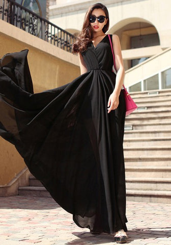 2018 Black Draped V-neck Sleeveless Elegant Chiffon Prom Evening Party Maxi Dress