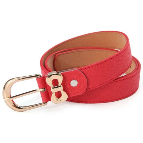 Gold Bow Princess Slim Skinny  Embellished PU Leather Belt
