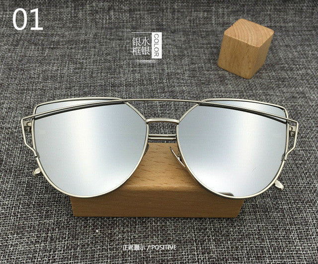 28ffcc51105 New Cat Eye Aviator Sunglasses Women Vintage Fashion Metal Frame Mirror Sun  Glasses Unique Flat Ladies Sunglasses