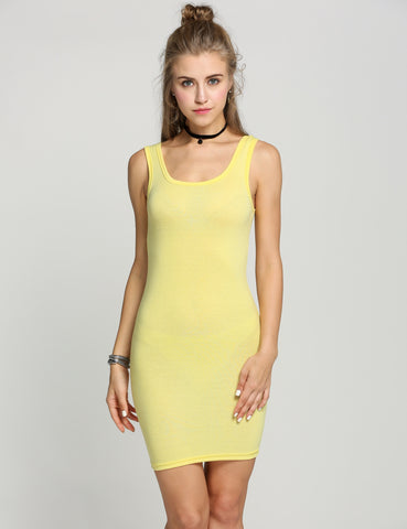 Bodycon Sleeveless Long Tank T-Shirt Mini Casual Dress