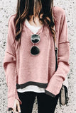 Loverchic Solid Color Long Sleeve V-neck Casual Hoodie
