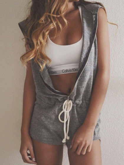 Fashion Sleeveless Solid Color Zipper Romper