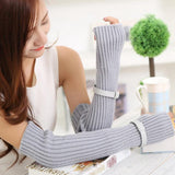 Women Winter Thicken Warm Knitted Fingerless Long Gloves Fake Sleeve With Belt