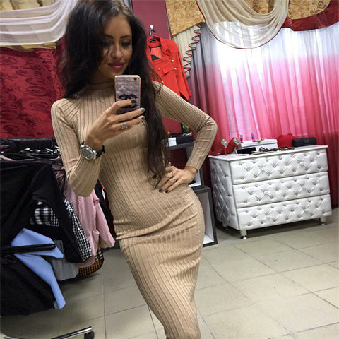 2018 Sexy Midi Sheath Slim Long Sleeve Elegant Package Hip Vestidos Bodycon Dress