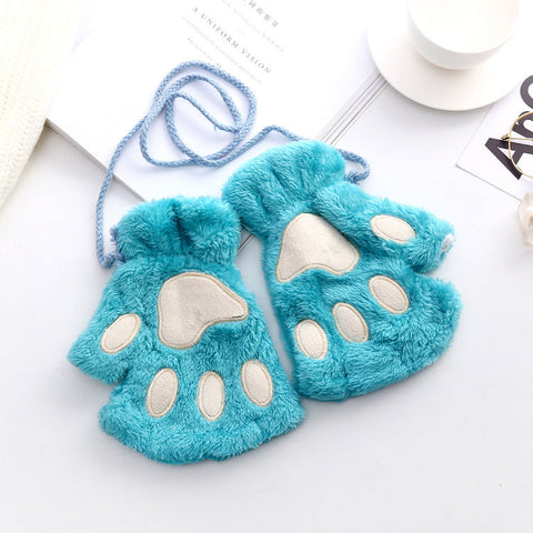 Women Winter Lovely Bear Cat Claw Paw Mitten Plush Gloves Casual Warm Half Finger Gloves