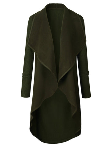 Brief Solid Color Turn-Down Collar Women Coats