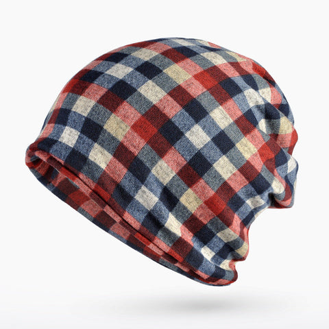 Unisex Grid Skullies Beanies Cap Knitted Cotton Soft Bonnet Hat Multifunction Towel