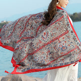 Women Summer Breathable Sunscreen Beach Shawl Towel Casual Travel All-match Visor Shawl Scarf