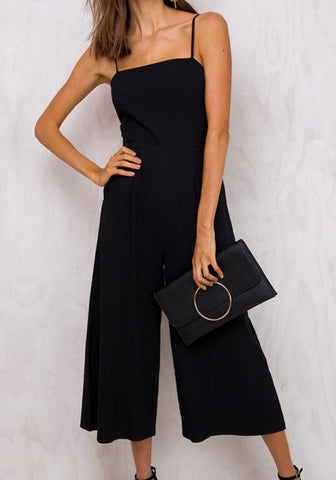 Black Condole Belt Cut Out Bow Elastic Waist Nine's Jumpsuit