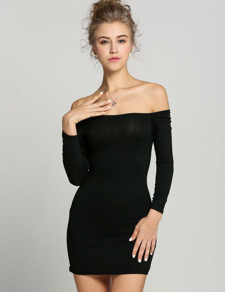 New Women Off the Shoulder Stretch Tunic Tight Fitted Club wear Party Sexy Mini Dress Black