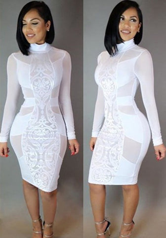 New Women White Patchwork Grenadine See Through Bodycon Bandage Club Party Midi Dress