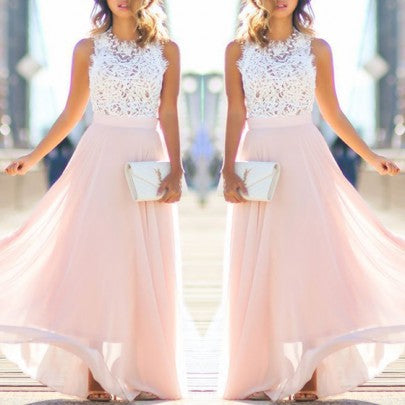 2018 New Women Pink Lace Draped Bridesmaid Party Tulle Maxi Dress