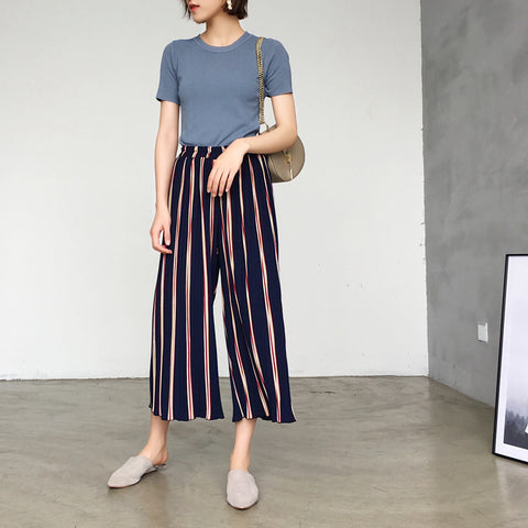 Women Casual Pleated Chiffon Wide-Leg pants Pants