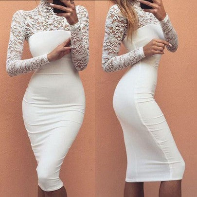 New Women White Patchwork Lace Draped Elegant Bodycon Bridesmaid Party Long Sleeve Midi Dress