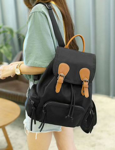 2017 New Women Preppy Style Lightweight Double Buckle Nylon Drawstring Backpack
