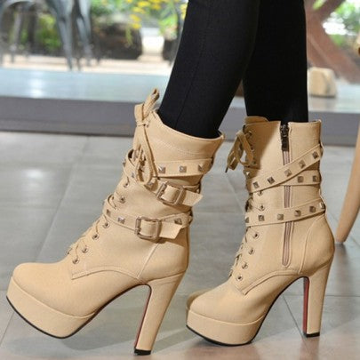 New Women Apricot Point Toe Chunky Rivet Double Buckle Fashion Martin Boots