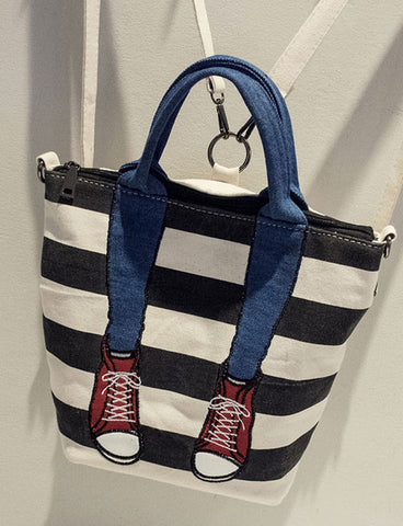 2017 New Women Cute Printed Striped Canvas Straps Tote Bag