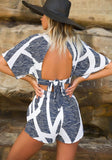 2018 Blue Patchwork Ruffle Buttons Tie Back Elastic Waist Short Jumpsuit