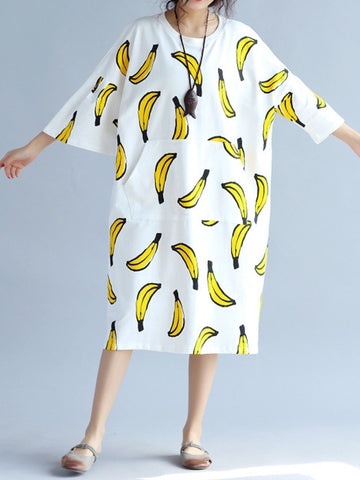 Banana Printed Loose O-Neck Half Sleeve Women Casual Dresses