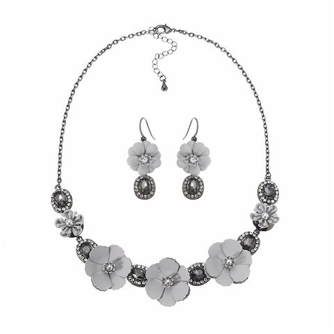 JASSY® Women Elegant Flower Jewelry Set Crystal Zirconia Pearl Earrings Necklace
