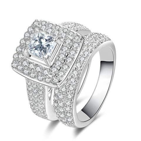 Elegant Platinum Square Zircon Ring 2Pcs Combined Sets Wedding Rings Gift for Women