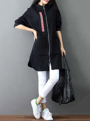 Casual Patchwork Side Split Zipper Long Sleeve Medium Long Jackets