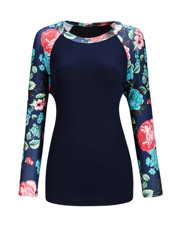 Awesome Round Neck Floral Printed Raglan Sleeve T-Shirt