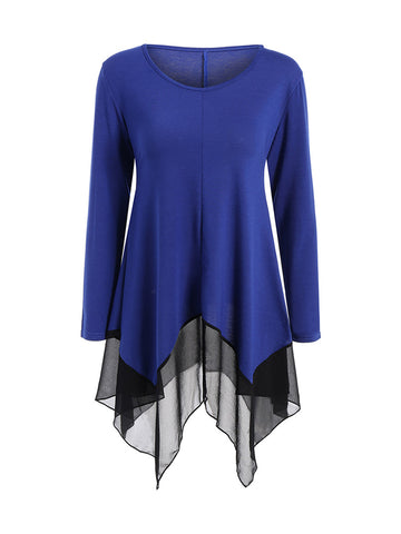 Asymmetric Hem Patchwork Practical Designed Long Sleeve T-Shirt