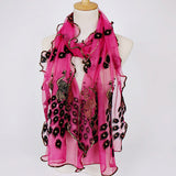190CM Women Peacock Pattern Lace Gold Foil Scarves Shawl Casual Travel Warm Scarf