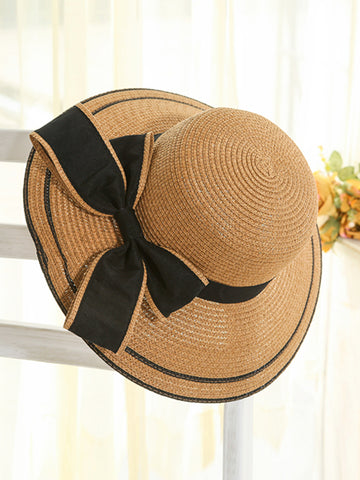 Bowknot Straw Beach Hat