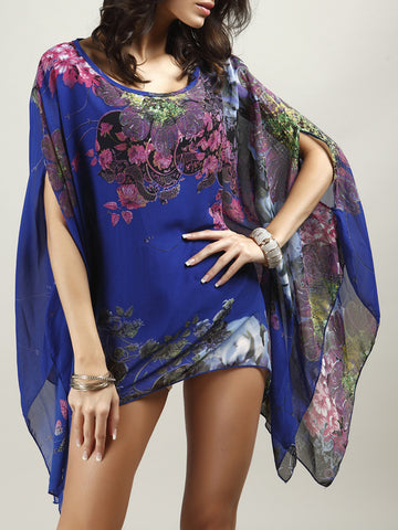Asymmetric Hem Floral Cape Sleeve Scoop Neck Blouse