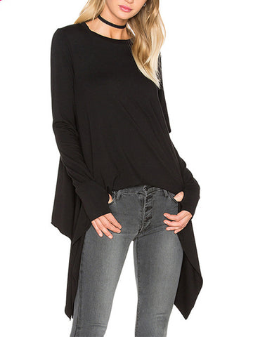 Asymmetric Hem Plain Round Neck Long Sleeve T-Shirt